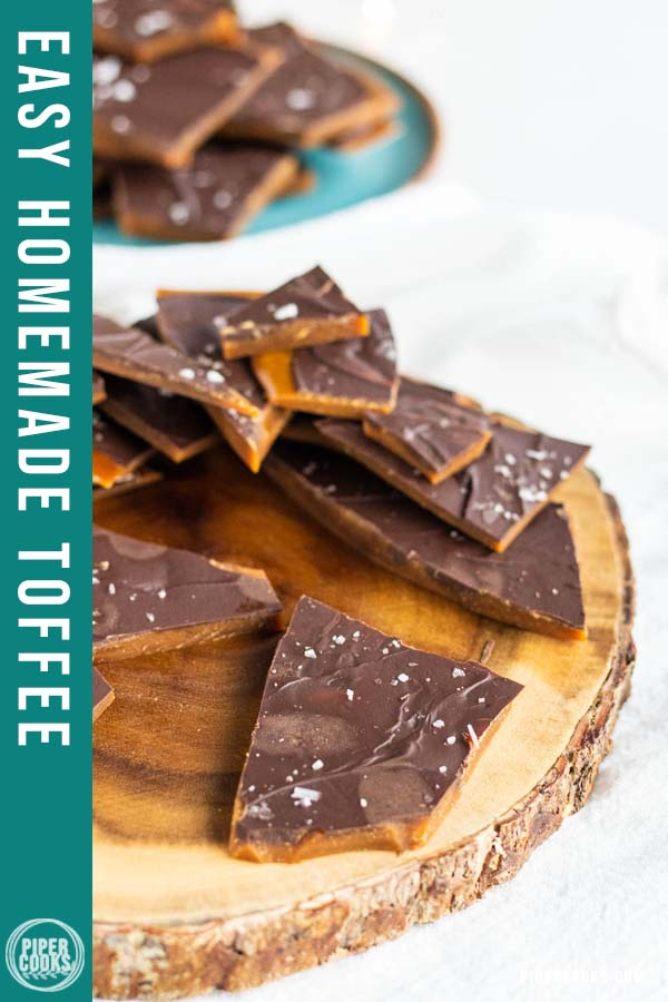 toffee on a wood platter
