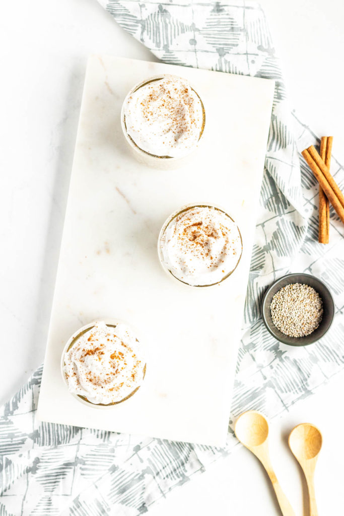 eggnong chia pudding in small cups