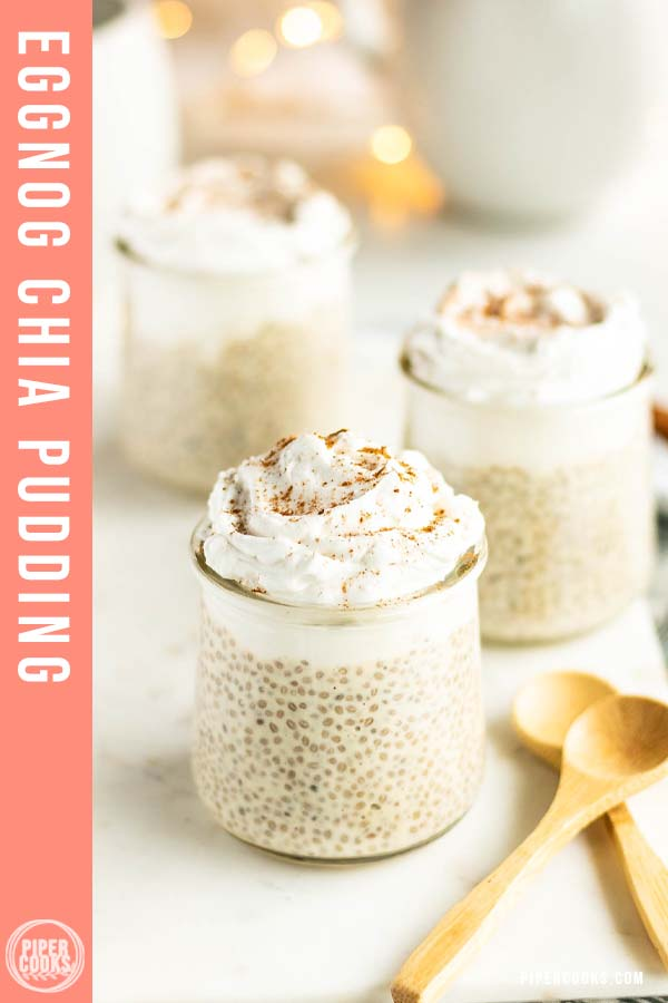 eggnong chia pudding in small cups with text overlay for pinterest