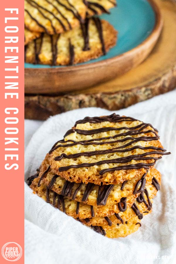 florentine cookies stacked with text overlay for Pinterest