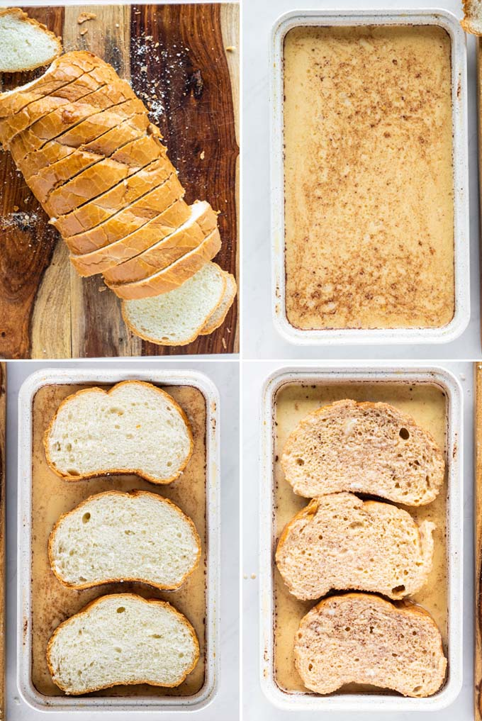 process of making french toast: the bread, the custard and dipping the bread in the custard