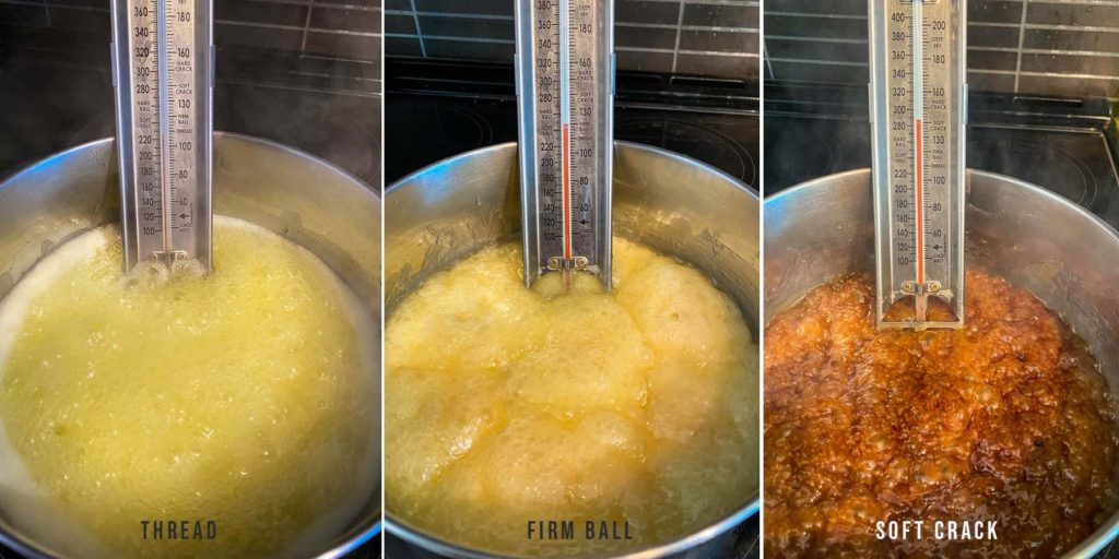 process photos of how to make toffee