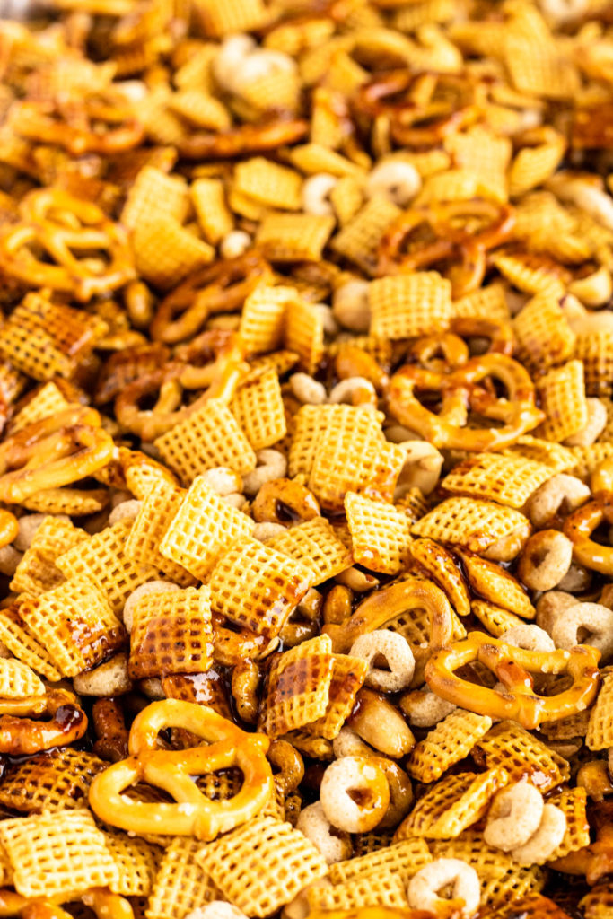 close up of chex mix