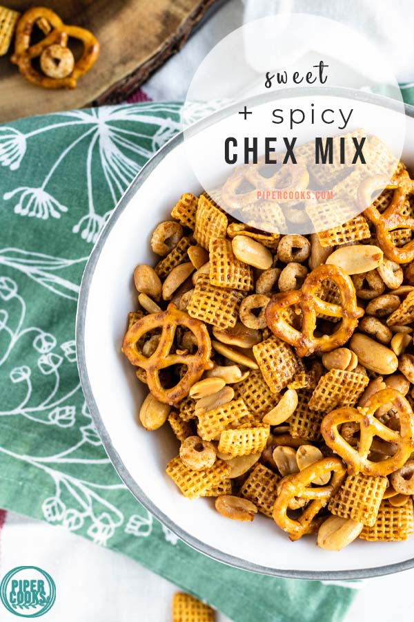 chex mix in a bowl with text overlay for pinterest
