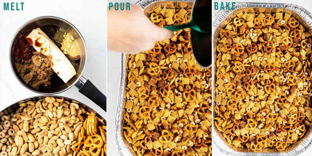 process of glazing and baking chex mix