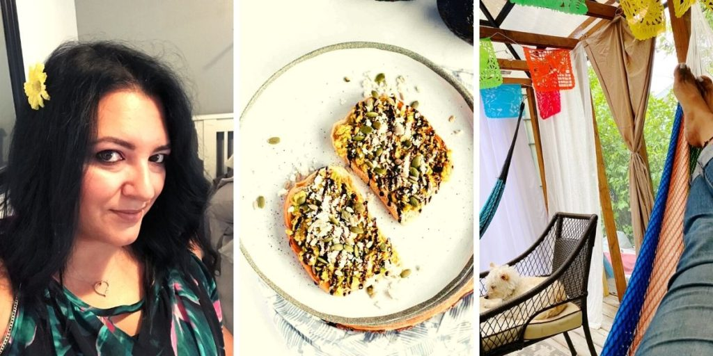 photos of jacqueline piper, avocado toast, jacqueline in a hammock with a dog