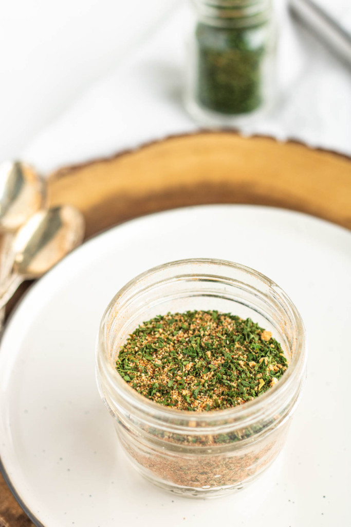 seasoning mix in a jar with text for pinterest