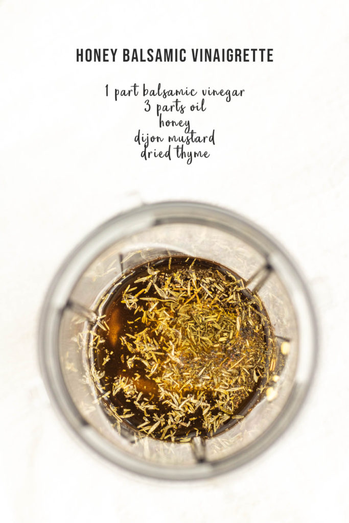 honey balsamic dressing ingredients in a blender cup with text overlay