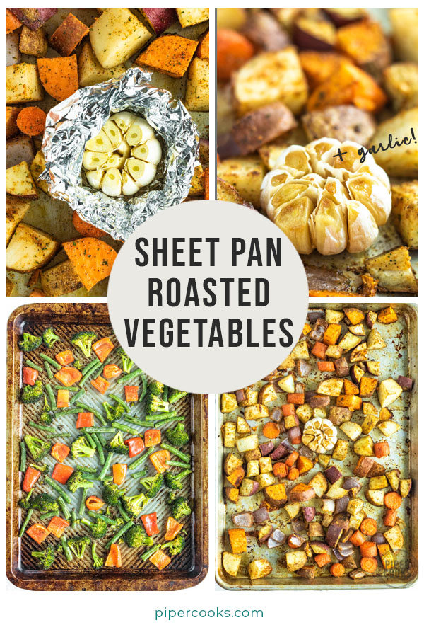 potatoes and broccoli and red bell pepper on a sheet pan with a text overlay for Pinterest