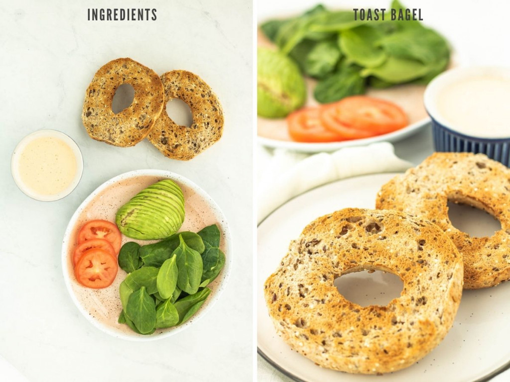 ingredients for toasted avocado bagel sandwich