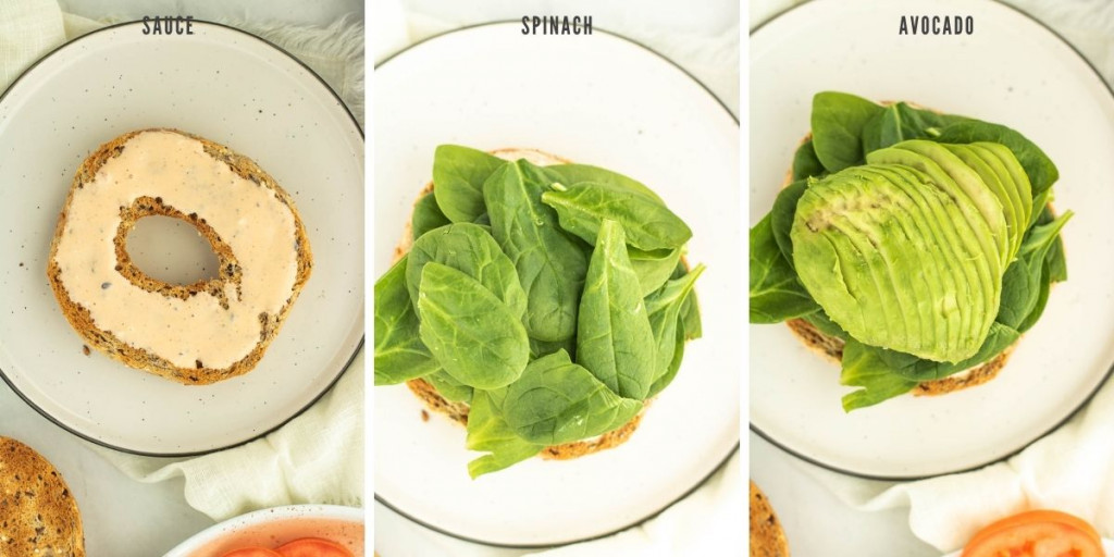process shots of adding spinach and avocado to a toasted bagel