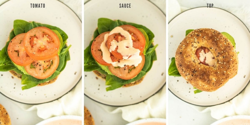 process shots of adding tomato and sauce to a toasted bagel