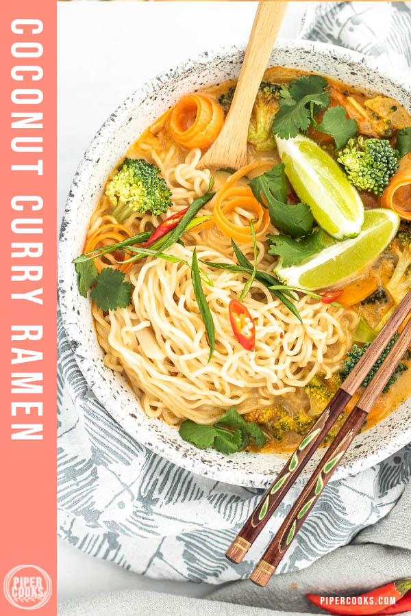 coconut curry ramen soup in bowls with text overlay for Pinterest