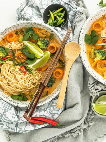 coconut curry ramen soup in bowls