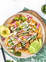 loaded taco fries on a plate
