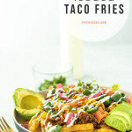 loaded taco fries on a plate with text overlay for Pinterest