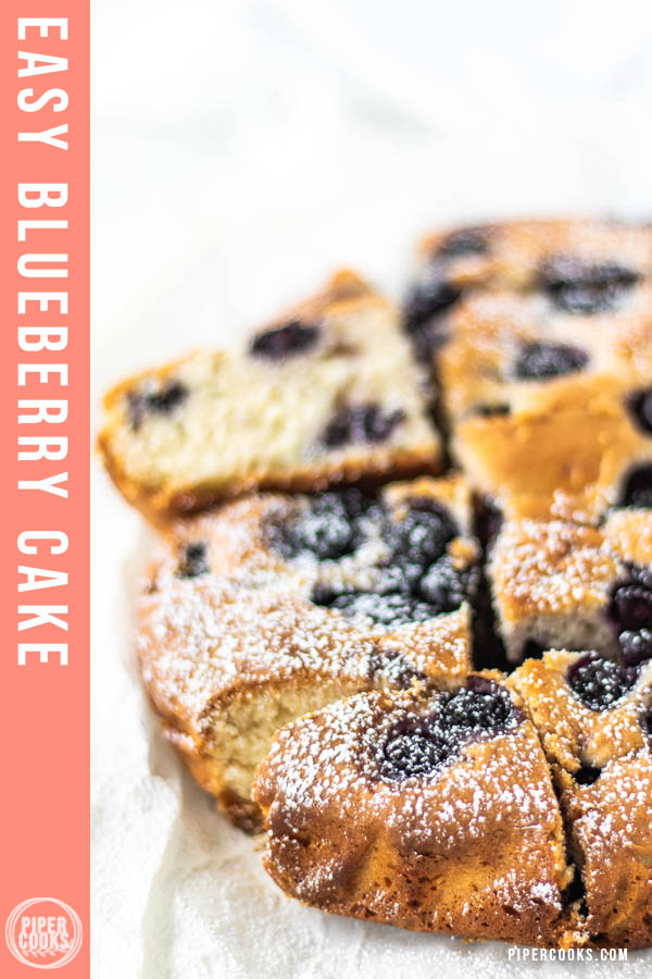Vanilla Blueberry Cake with text overlay for Pinterest