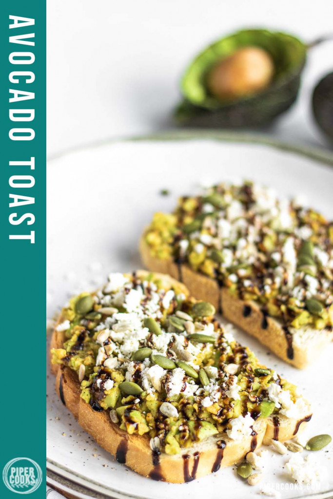 smashed avocado on toast on a plate with text overly for Pinterest