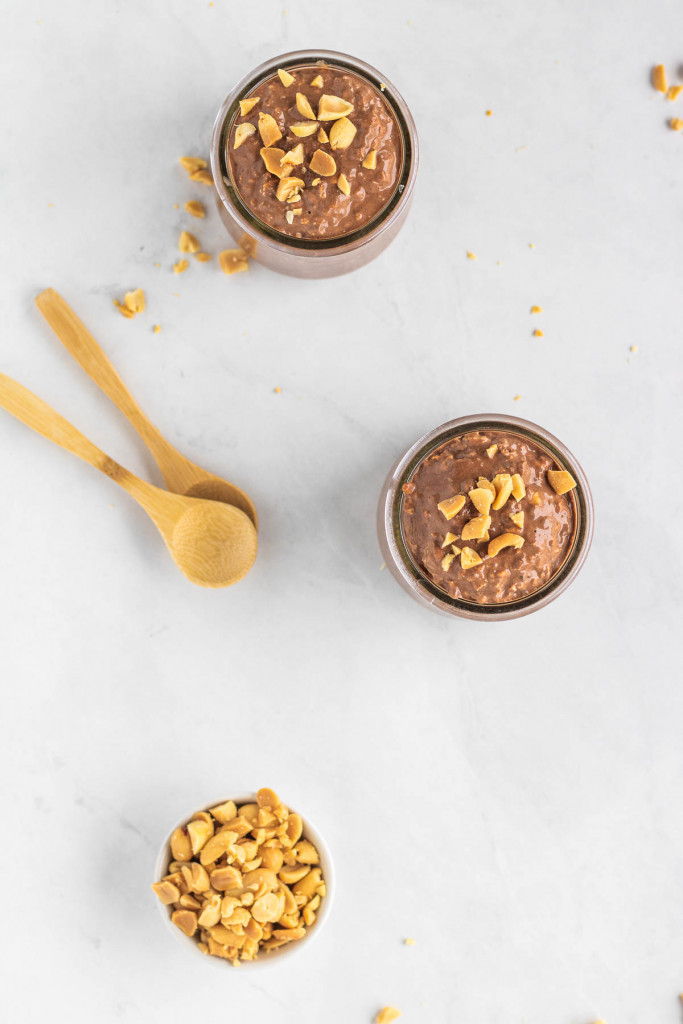 chocolate peanut butter overnight oats in cups