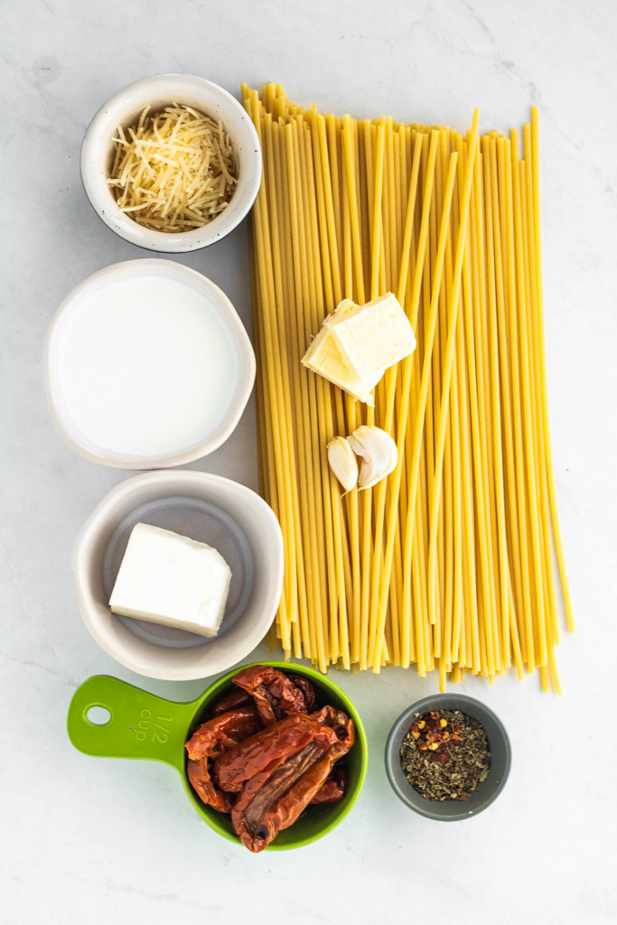 ingredients for creamy sun dried tomato pasta