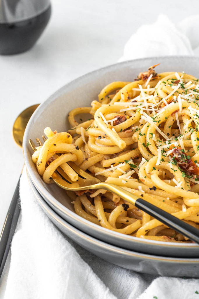 pasta swirled in a bowl