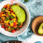ground turkey skillet dinner in a bowl with a text overlay for Pintereset