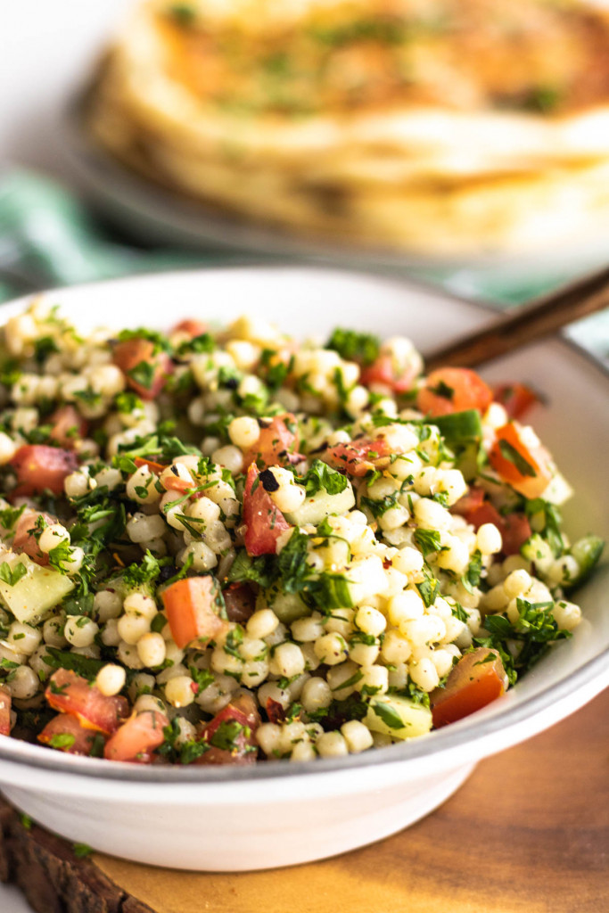 pearl couscous salad in a bowl