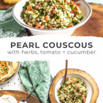 pearl couscous salad in a bowl with text overlay for Pinterest