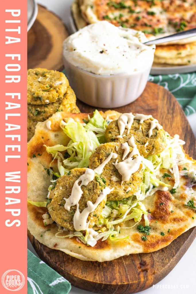 flatbreads with chickpea patties and text overlay for Pinterest