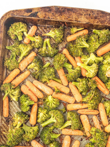 Broccoli and Carrots on a sheet pan