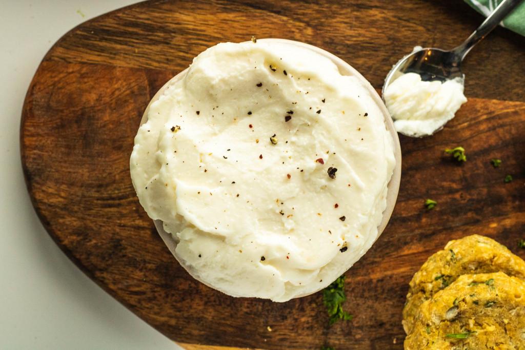 garlic dip in a bowl