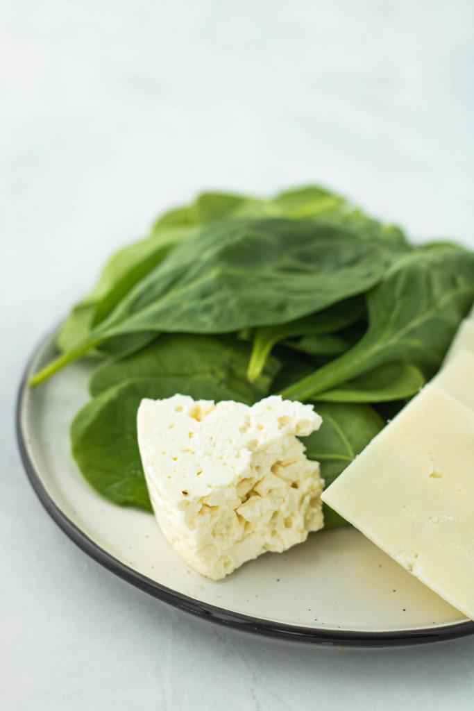 feta, mozzarella and spinach