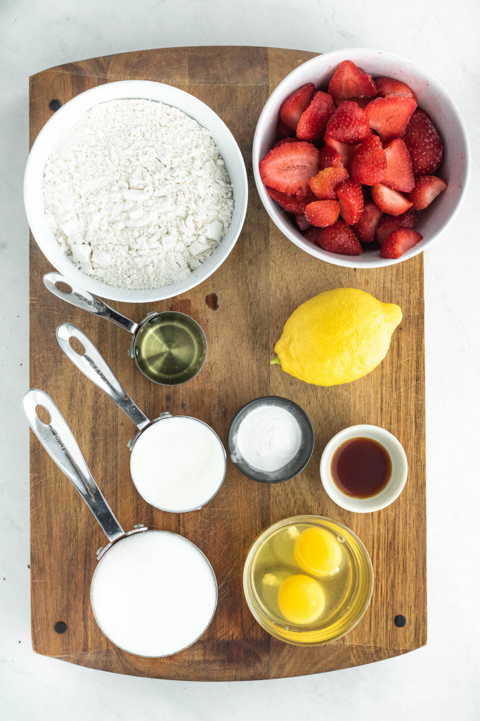 ingredients for a strawberry lemon cake