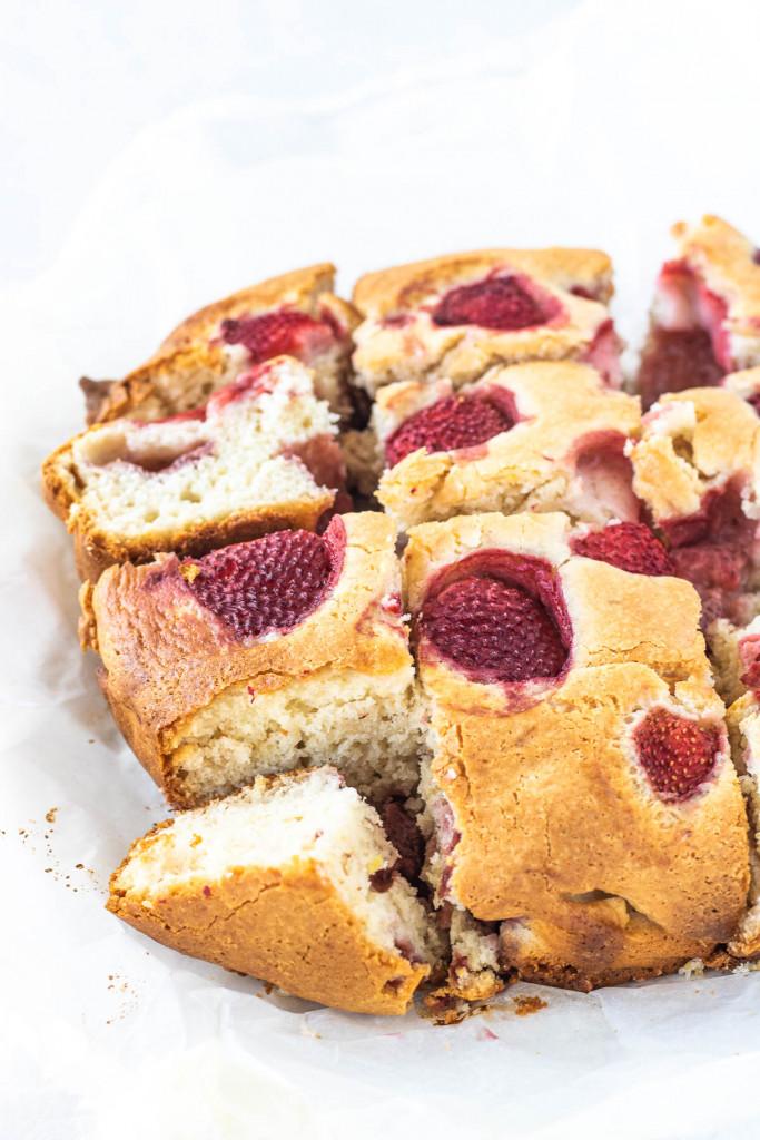 sliced strawberry lemon cake
