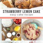sliced strawberry lemon cake with text overlay for Pinterest