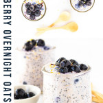 blueberry overnight oats in a jar with a text overlay for Pinterest