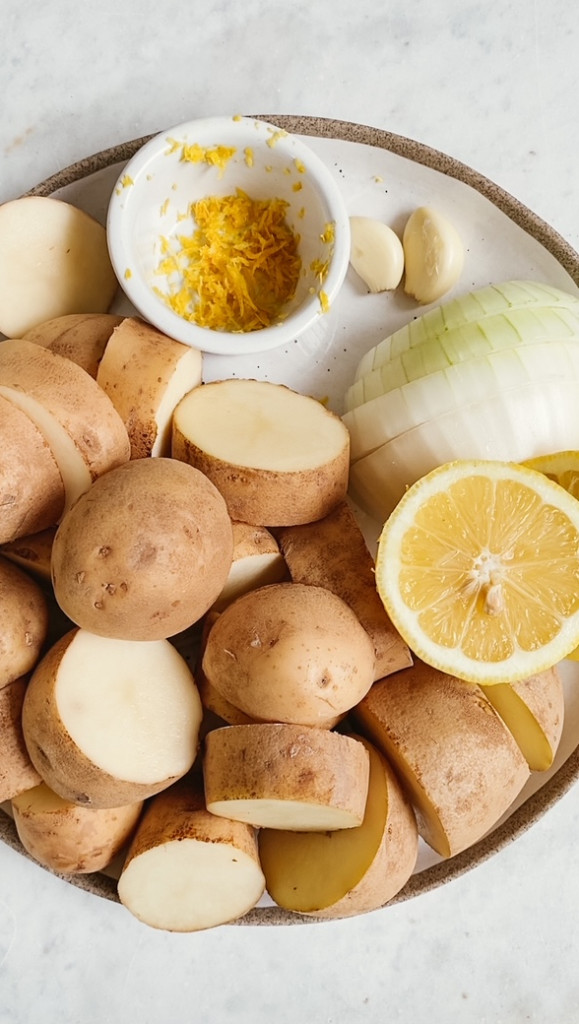 ingredients on a plate for instant pot chicken and potatoes