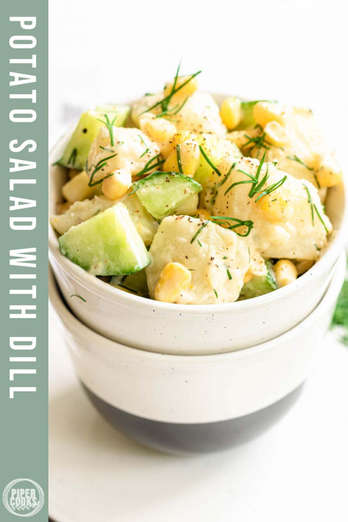 potato salad in a bowl with text overly for Pinterest