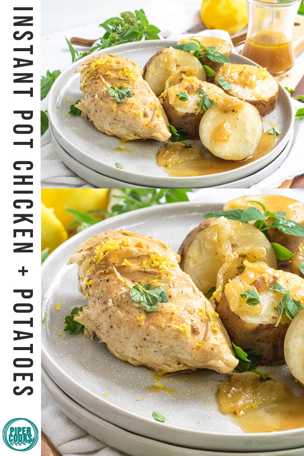 cooked chicken and potatoes on a plate with a text overlay for Pinterest