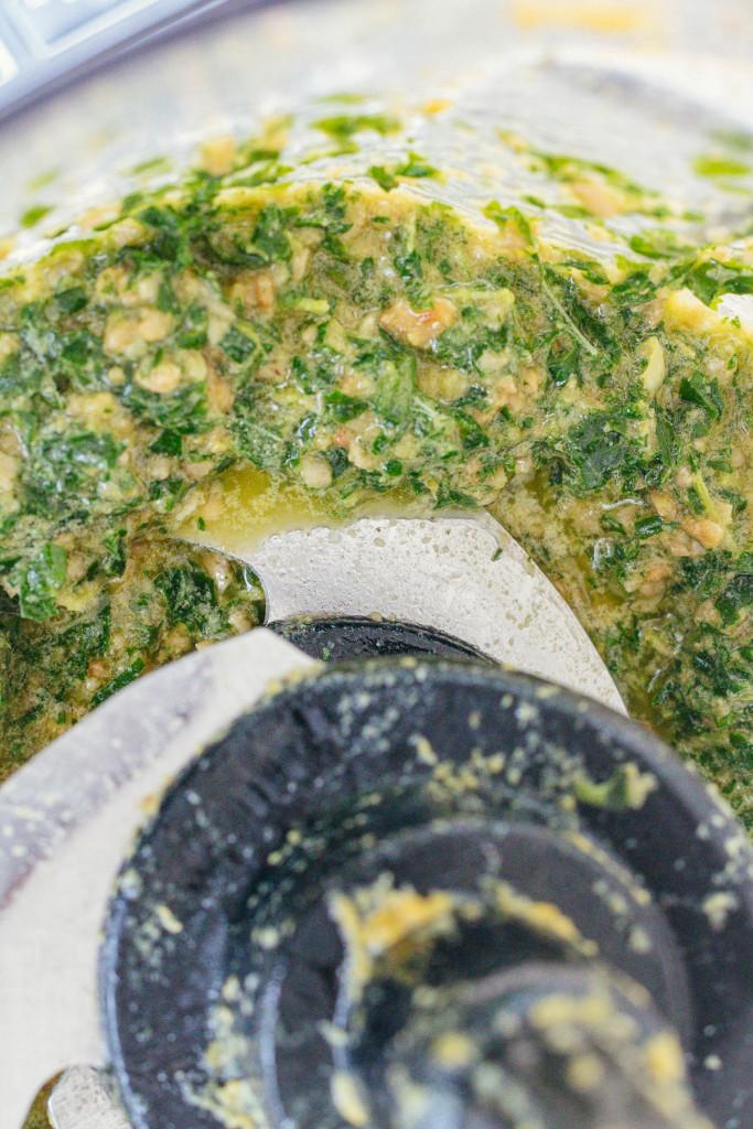 making pesto in a food processor
