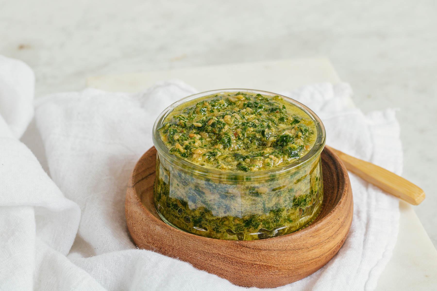 pesto in a small bowl