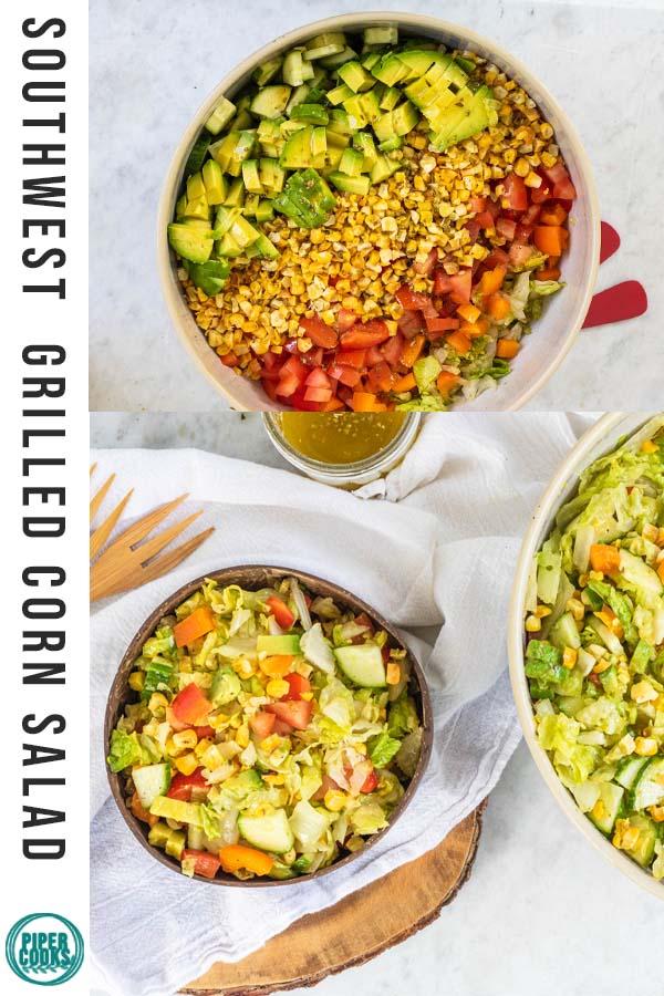 chopped corn salad in bowls
