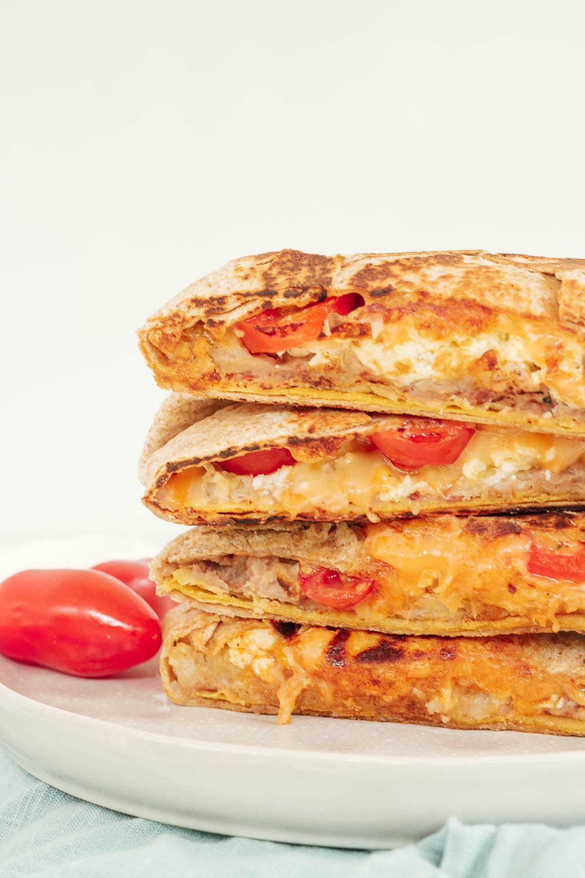 Breakfast Crunchwrap on a plate