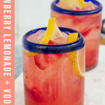 two pink cocktails in blue rimmed glasses with text overlay for Pinterest
