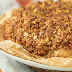 Cake with streusel topping on a plate